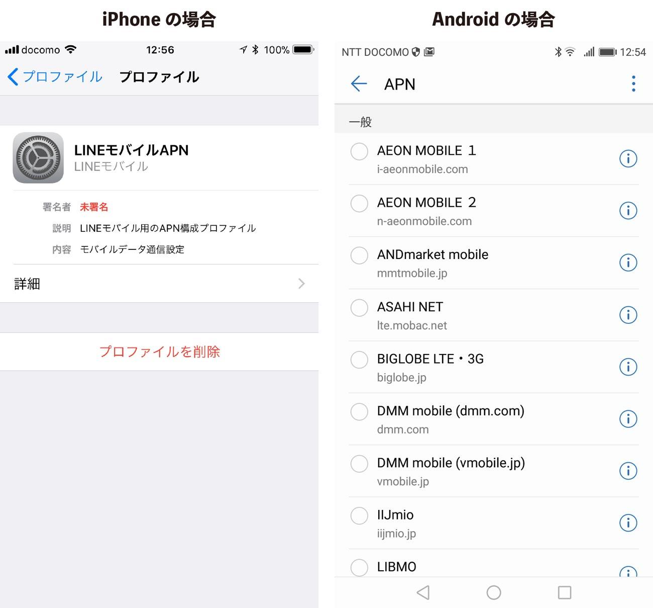 APNの設定 格安SIM