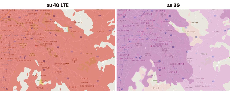 au 4Gと3Gエリア比較
